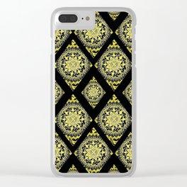 Baroque Inspired Mandala Diamond Textile Clear iPhone Case