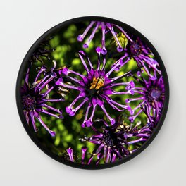 Bee and the Purple Flower Wall Clock
