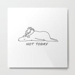 White Moose Metal Print