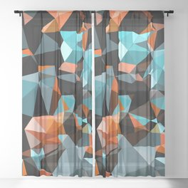 Copper Vein Abstract Low Poly Geometric Triangles Sheer Curtain