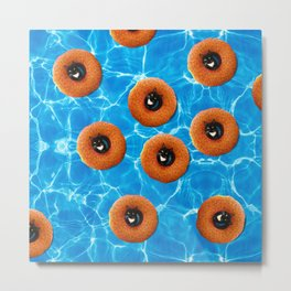 Floating Cat Donut Party Metal Print