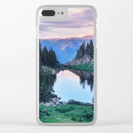 Hikers Bliss Perfect Scenic Nature View \ Mountain Lake Sunset Beautiful Backpacking Landscape Photo Clear iPhone Case