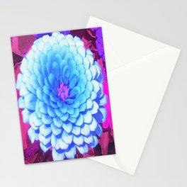 Pretty Blue Zinnia in the Purple Summer Garden Stationery Cards