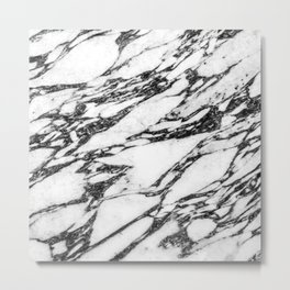 Modern Black and White Marble Stone Metal Print