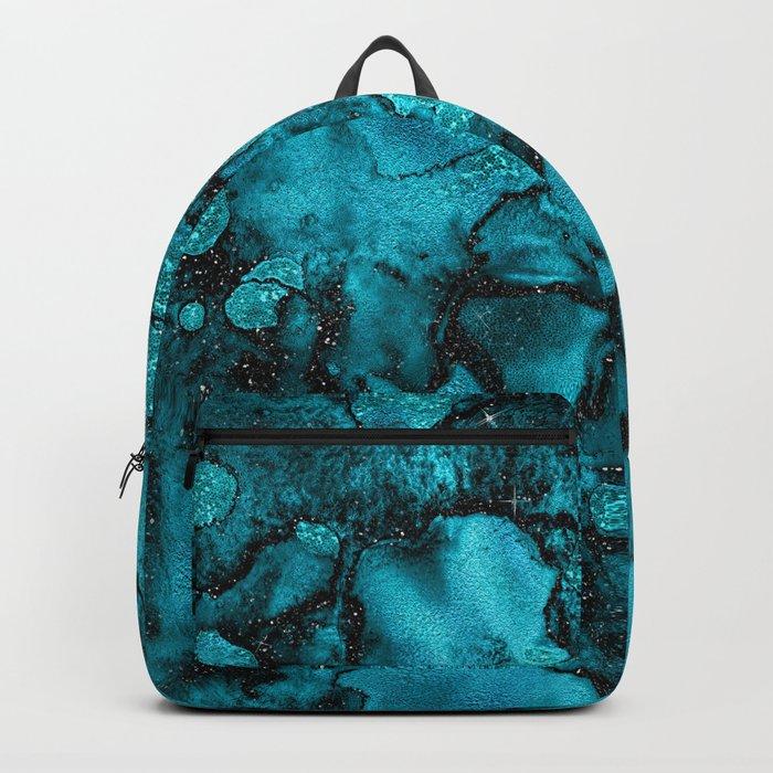 Blue Gemstone and Ink Malachite Glitter Marble Backpack