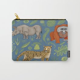 endangered animals, black rhino, amur leopard, bornean orangutan Carry-All Pouch