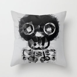 psychedelic skull and bone art geometric triangle abstract pattern in black and white Throw Pillow