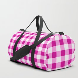 Magenta and White Check Duffle Bag