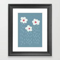 Rainy Flowery Clouds Framed Art Print