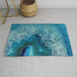 Teal Blue Agate slice Rug