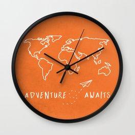 Adventure Map - Retro Orange Wall Clock