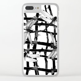 BLACK & WHITE DRAGONFLIES ON WHITE COLOR Clear iPhone Case