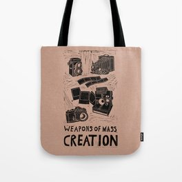 Weapons Of Mass Creation - Photography (blk on brown) Tote Bag