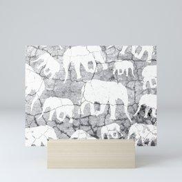 Elephant Concrete Jungle Pattern Mini Art Print