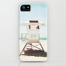 Lifeguard Stand, Beach Photography, San Diego California, Blue Aqua Seashore Ocean Summer Art iPhone Case