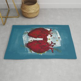 two hearts beating as one Rug
