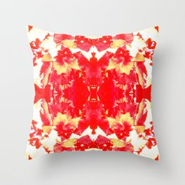 Red Leaves and Leaves Throw Pillow