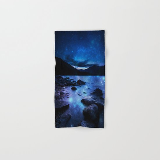 Magical Mountain Lake Dark Blue Hand & Bath Towel