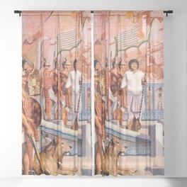 "Classical Masterpiece ""Egyptian Ramesses II Throne Room"" by Herbert Herget Sheer Curtain"
