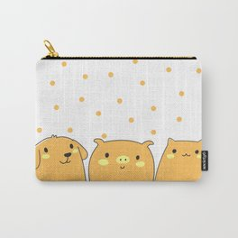 Cute Animals Art, Pet Animals Design Art with Dog, Pig and Cat Carry-All Pouch