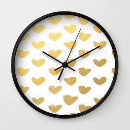 Gold Heart Love Brushstroke Watercolor Pattern Wall Clock