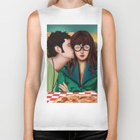 daria Biker Tanks featuring Daria with Pizza and Friends by Artik