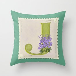Sellos Naturales. Letter J. Flower: Jacaranda Throw Pillow