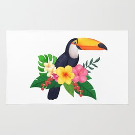 Tropical Toucan Floral Watercolor Rug