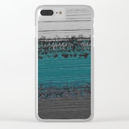Teal and Gray Abstract Clear iPhone Case