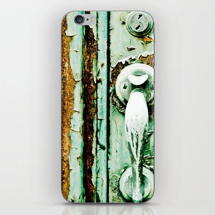 Green Door Handle, Peeling Turquoise Paint, Rusty Door iPhone Skin
