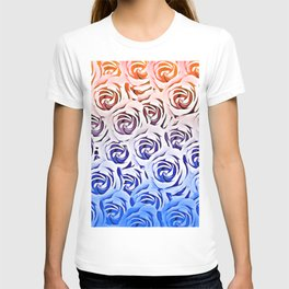 rose pattern texture abstract background in pink and blue T-shirt