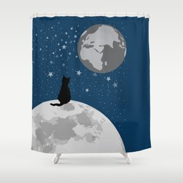 Space Cat Blue Shower Curtain