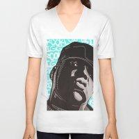 biggie smalls V-neck T-shirts featuring Biggie Smalls by Art By Ariel Cruz