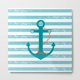 AFE Nautical Teal Ship Anchor Metal Print