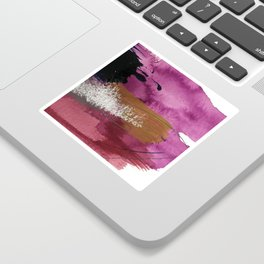 Comfort: a pretty abstract mixed media piece in gray, purple, red, black, and white Sticker