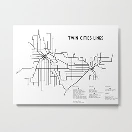 Twin Cities Lines Map Metal Print
