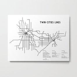 Twin Cities Lines Map Metal Print
