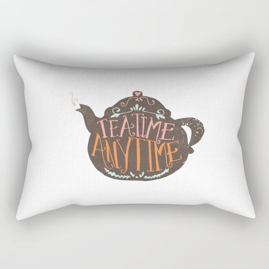 TEA TIME. ANY TIME. - color Rectangular Pillow