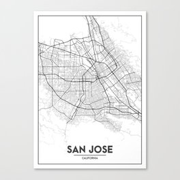 Minimal City Maps - Map Of San Jose, California, United States Canvas Print