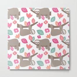 cute cartoon sloth seamless pattern background with colorful leaves and flowers Metal Print