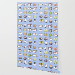 Happy kawaii sushi pattern Wallpaper