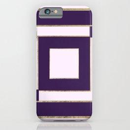 Modern light lavender purple gold contemporary geometric borders iPhone Case