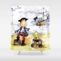 pirate ship Shower Curtains featuring Pirate by LolMalone