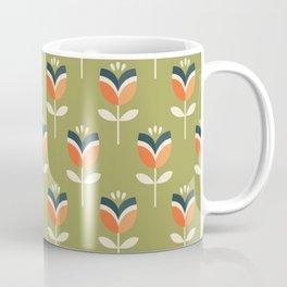 RETRO TULIP - ORANGE AND OLIVE GREEN Coffee Mug