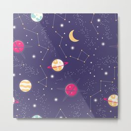 Universe with planets and stars seamless pattern, cosmos starry night sky 006 Metal Print