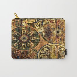 floral Pattern Wood Carry-All Pouch