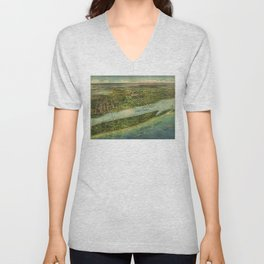 Panoramic view of West Palm Beach, North Palm Beach and Lake Worth, Florida (1915) Unisex V-Neck