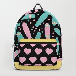 Pastel Skateboards Pattern - Pastel on Black Backpack