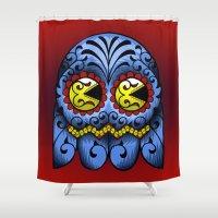 pacman Shower Curtains featuring Sugarskull Pacman by tshirtsz