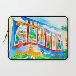 Greetings From Austin Mural watercolor Laptop Sleeve